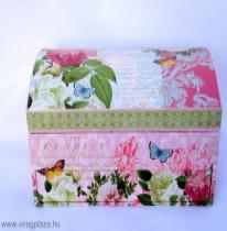 Rózsaszín rózsás ékszertartó doboz