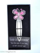 Tűzzománc rózsaszín pillangós könyvjelző