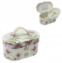 Lila virágos ékszertartóbőrönd